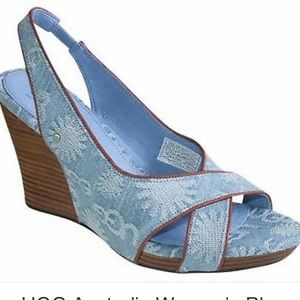 UGG Australia Blue Hazel Denim Wedges  sz 6.5